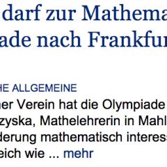Claudia Lange darf zur Mathematik-Bundesolympiade nach Frankfurt/Main fahren